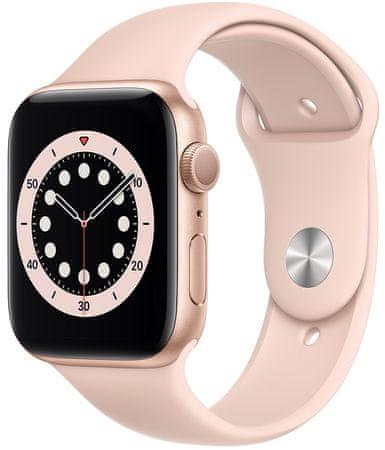 Apple Watch Series 6 okosóra, 44mm Gold Aluminium Case with Pink Sand Sport Band (M00E3HC/A)