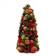 Seizis Strom ze šišek červený s růžemi, 40cm