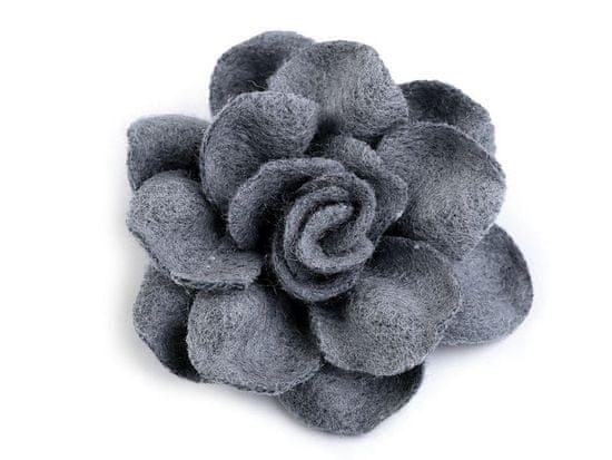 Kraftika 2ks 5 modrošedá vlněný květ ø40mm
