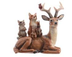 Kaemingk Dekorace Jelen se zvířátky - natural