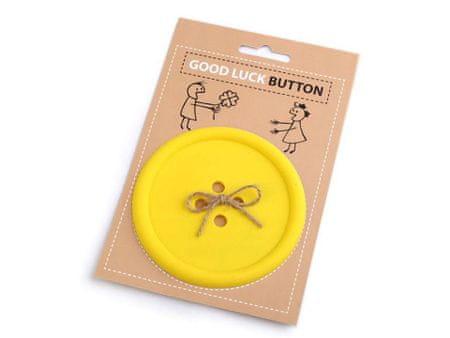 Kraftika 1pc sárga angol good luck gomb / alátét, egyéb dekorációk