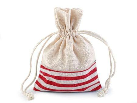Kraftika 1db piros eper vászon táska csíkos 10x13cm, pamut