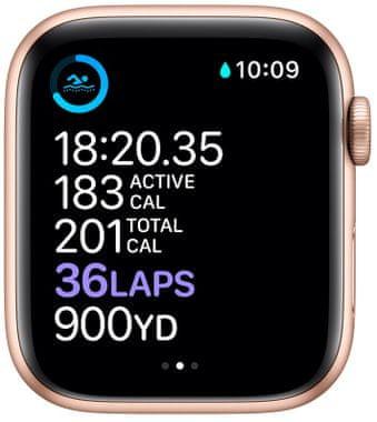 Chytré hodinky Apple Watch Series 6, EKG sledování tepu srdeční činnost monitorování aktivity notifikace online platby Apple Pay tréninkové programy přehrávání hudby notifikace volání snímání okysličení krve detekce pádu