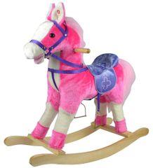 Teddies Kůň houpací růžový plyš na baterie
