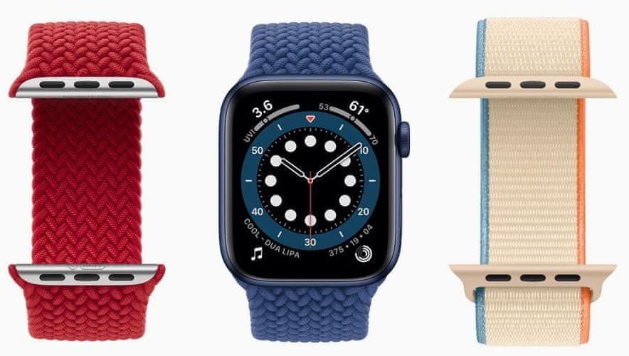 Inteligentné hodinky Apple Watch Series 6 veľký Retina displej hliníkové puzdro nastaviteľný dizajn vymeniteľný remienok kolekcia