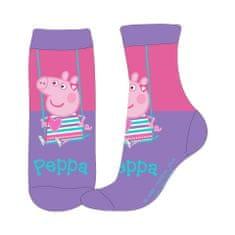 Eplusm Dievčenské vysoké ponožky Peppa Pig - fialová
