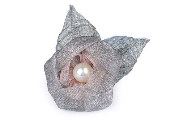 Kraftika 1ks šedá perlová brož květ z organzy s perlou