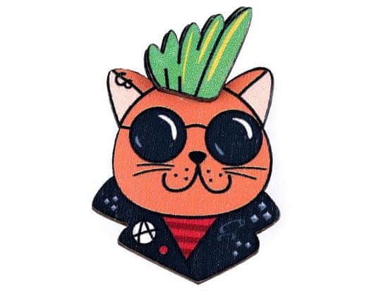 Kraftika 1ks 2 lososová tmavá kočka dřevěná brož 3d panda, kočka