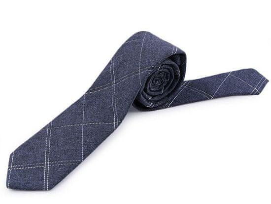 Kraftika 1ks 2 modrá jeans bavlněná kravata károvaná