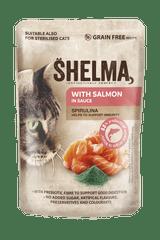SHELMA bezobilné dusené filetky s lososom a spirulinou v omáčke 28 x 85 g
