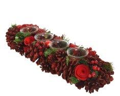 Kaemingk Svícen na 4 čajové svíčky červený - 15x45x9 cm