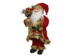 Kaemingk Dekorace Santa v sametovém kabátku - 30 cm