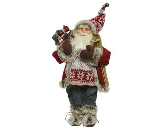 Kaemingk Dekorace Santa s lyžemi a svetrem - 30 cm