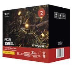 Emos Profi LED spojovací řetěz černý – ježek, 3 m, teplá bílá