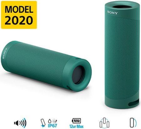 Sony SRS-XB23 4K Bluetooh zvočnik, zelen