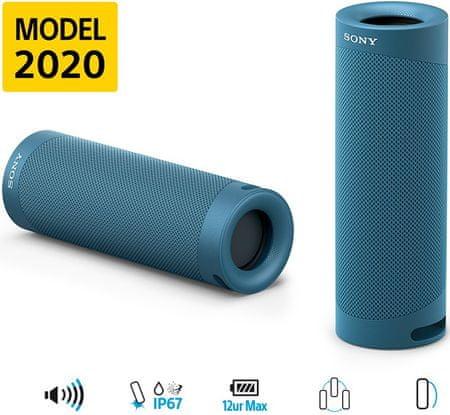 Sony SRS-XB23 4K Bluetooh zvočnik, moder