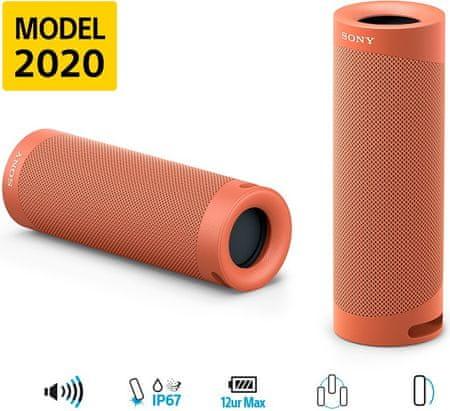 Sony SRS-XB23 4K Bluetooh zvočnik, rdeč
