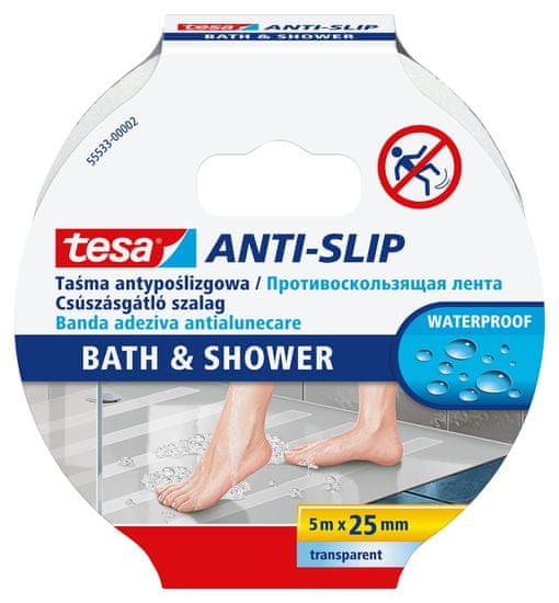 Tesa Protišmyková páska tesa® pre kúpeľne - vodoodolná, priesvitná, ľahko použiteľná, 5m x 25mm