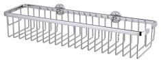 Tesa Široký odkladací košík tesa® Aluxx, chrómovaný hliník svysokým leskom, samolepiaci, 92 mm x 450 mm x 125 mm