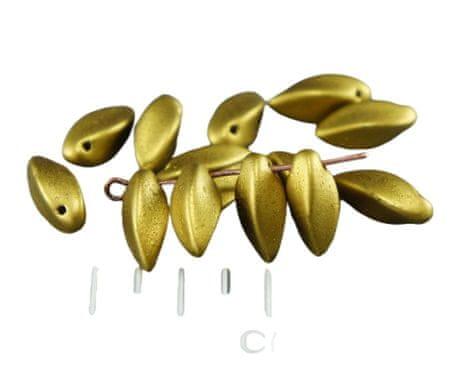 Kraftika Matt fémes arany szirom csavart virág cseh üveggyöngyök 6mm
