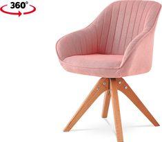 ART Jídelní a konferenční židle, potah starorůžová látka, nohy masivní buk v tmavším přírodním odstínu, otočná o 360° HC-770 PINK2 Art