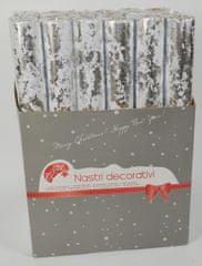 DUE ESSE Dekorační textilie bílo-stříbrná 36 x 270