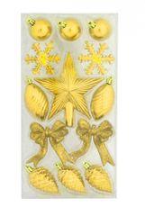 DUE ESSE Set 15 ks zlatých vánočních ozdob se špičkou, různé druhy