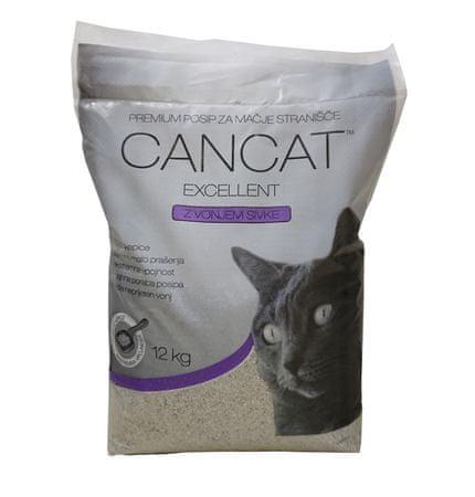 Cancat mačji posip, sprijemljivi, ultra fini, sivka, 12kg