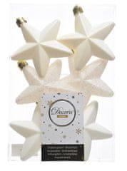Kaemingk Set plastových ozdob Hvězda, bílá, 6 ks