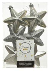 Kaemingk Set plastových ozdôb Hviezda, sivá, 6 ks