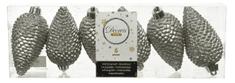 Kaemingk Set plastových ozdôb Šiška, sivá, 6 ks