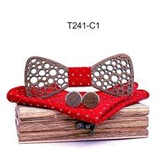 Mahoosive Dřevěný motýlek s kapesníčkem a manžetovými knoflíčky T241