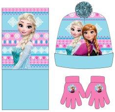 Eplusm Lány kalap, sál és kesztyű Fagyasztott - kék / rózsaszín