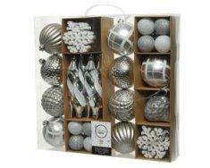 Kaemingk Set plastových ozdob - stříbrná - 50 ks