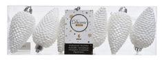 Kaemingk Set plastových ozdob Šiška, bílá, 6 ks