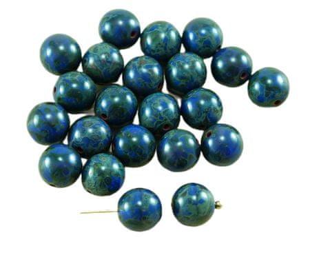 Kraftika 20db picasso átlátszatlan kék cseh üveg kerek gyöngyök 8mm