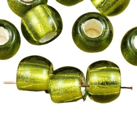 Kraftika 6db tiszta olíva zöld ezüst bélelt cseh üveg kerek nagy