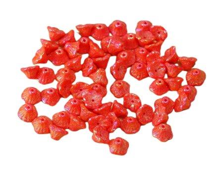 Kraftika 40szt nieprzezroczyste koral czerwony irys czeski szklany