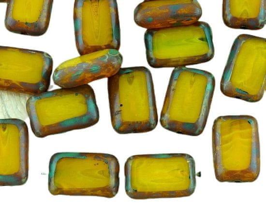 Kraftika Hranaté obdélníkové korálky picasso z českého skla