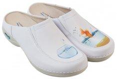 Nursing Care PARIS pracovní kožená pratelná obuv s certifikací bez pásku fish rybičky WG4F62 Nursing Care Velikost: 38