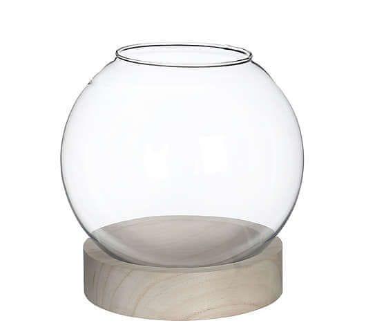Gardners Skleněná koule IRIS v dřevěném podstavci, průměr 20 cm
