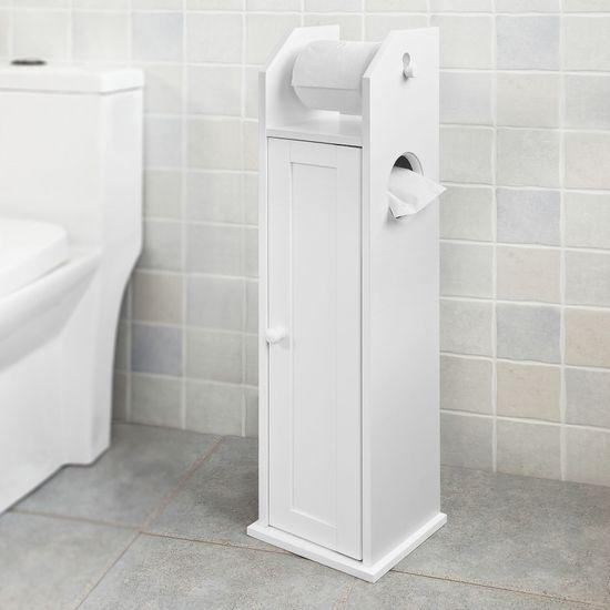 SoBuy FRG135-W držák na toaletní papír do koupelnové police stojící skříňka 20x78x18cm