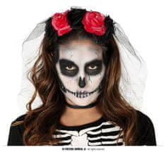 Čelenka - závoj červené ruže - Halloween