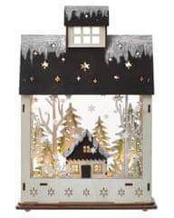 EMOS LED karácsonyi házikó, 30 cm, 2 × AA, meleg fehér, időzítő