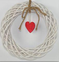 DUE ESSE božićni prirodni vijenac sa srcem, 25 cm