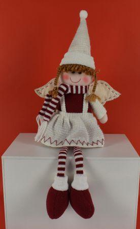 DUE ESSE Božićni anđeo s prugastim šalom 45 cm