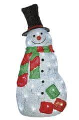 Emos LED vánoční sněhulák, 61 cm, venkovní, teplá bílá, časovač