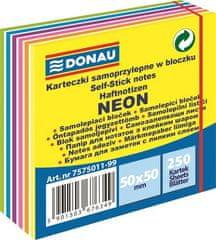 Donau Samolepicí bloček, 50x50 mm, 250 lístků, DONAU, neonové a pastelové barvy