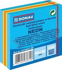 Donau Samolepicí bloček, 50x50 mm, 250 lístků, DONAU, neonové barvy