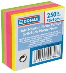 Donau Samolepicí bloček, 50x50 mm, 5x50 lístků, DONAU, neonové barvy